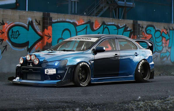 Picture Mitsubishi, Lancer, Evolution, Blue, Front, Color, Tuning, by Khyzyl Saleem