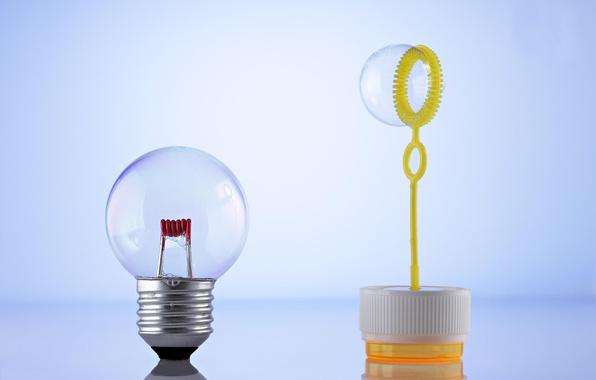 Picture light bulb, bubble, base