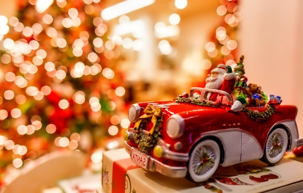 Picture lights, holiday, gift, toy, Christmas, New year, machine, Christmas, toy, bokeh, New year, Santa Claus