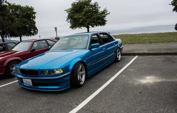Picture BMW, blue, 7series, E38