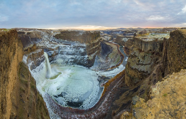 Picture ice, golden, panorama, winter, canyon, palouse falls