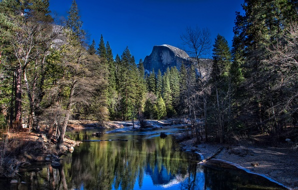 Picture forest, trees, mountains, river, CA, USA, Yosemite National Park