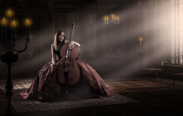 Picture girl, music, cello