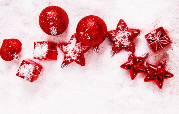 Picture winter, stars, balls, snow, balls, toys, New Year, Christmas, red, stars, the scenery, Christmas, holidays, …