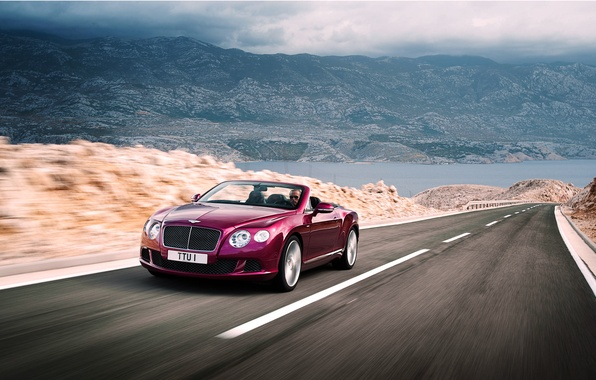 Picture Bentley, Continental, Road, Machine, Convertible, Bentley, Purple, The front