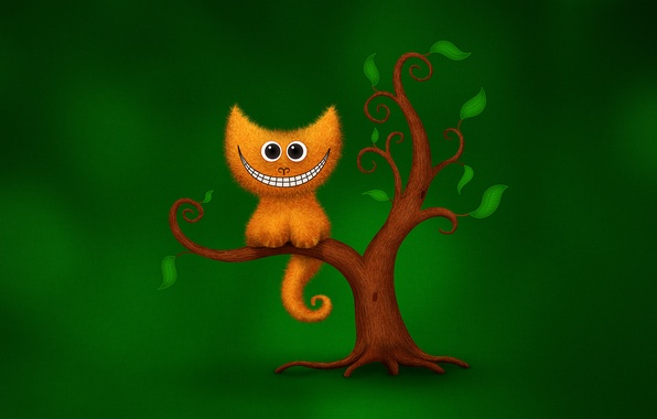 Picture cat, green, smile, tree, humor, Cheshire cat