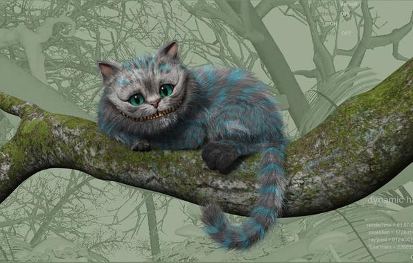 Picture Alice, Cheshire cat, in Wonderland
