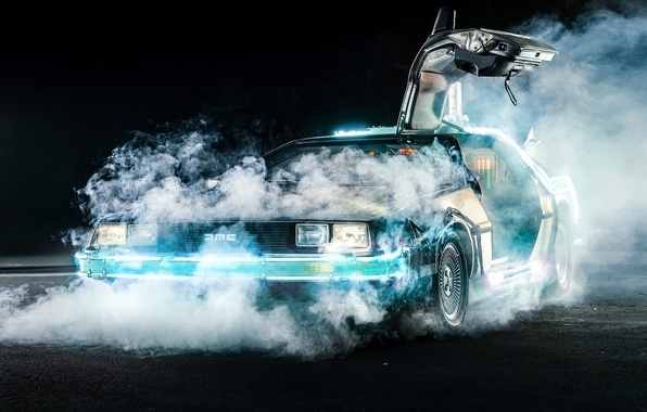 Picture background, smoke, the door, Back to the future, The DeLorean, DeLorean, DMC-12, the front, Back ...