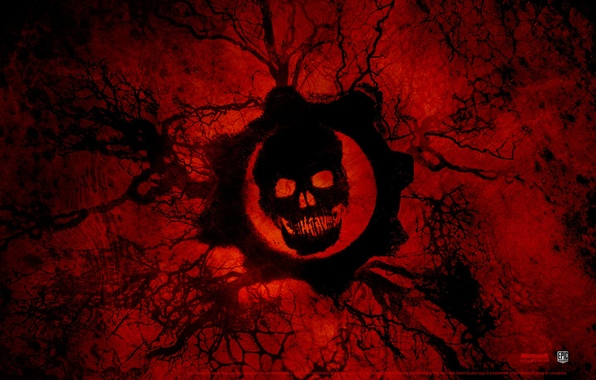 Picture blood, skull, Gears of War 3
