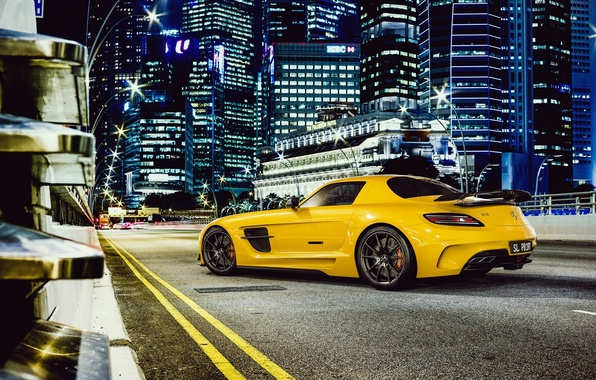 Picture Mercedes-Benz, Road, Yellow, Mercedes, AMG, Black, SLS, Supercar, Series, Yellow, Benz