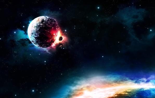 Picture colors, light, planets, Sci Fi, collision