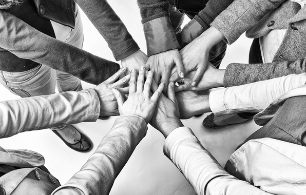 Picture hands, equipment, solidarity, fellowship