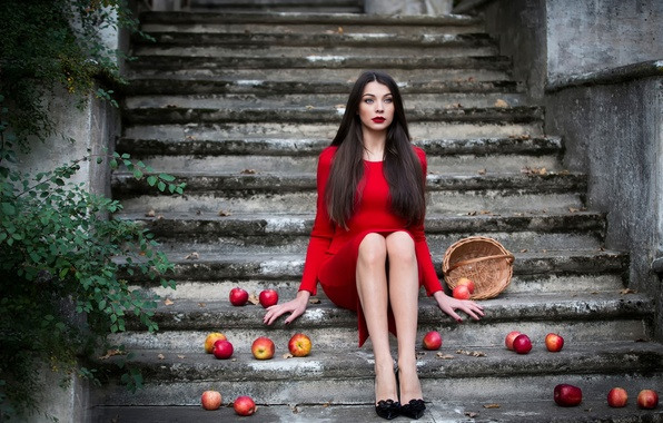 Picture girl, basket, apples, makeup, ladder, in red, Inese Stoner
