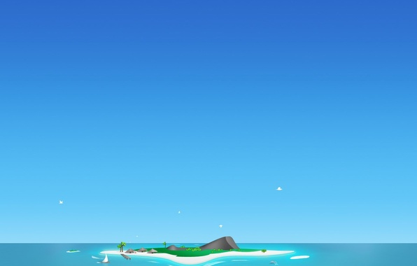 Picture blue, island, minimalism, vector