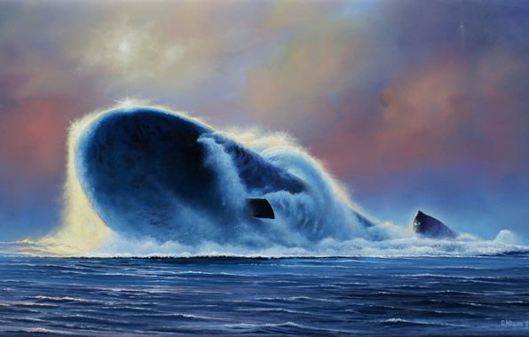 """Picture boat, picture, artist, underwater, Russian, project, atomic, 955, Northwind, Oleg, """"Yury Dolgoruky"""", Yudin"""