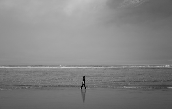 Photo wallpaper reflection, child, storm, beach, sea, gray clouds, wave, mirror, shadow, horizon