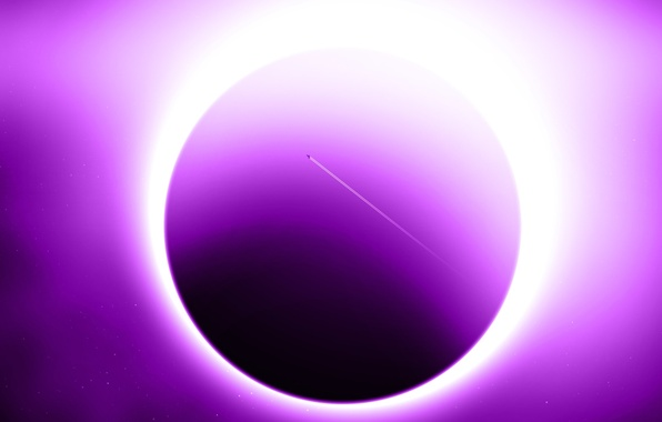Picture eclipse, sun, planet, effect, violet, sci fi