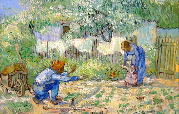 Picture love, child, picture, family, father, house, painting, mom, dad, Vincent Van Gogh, First steps
