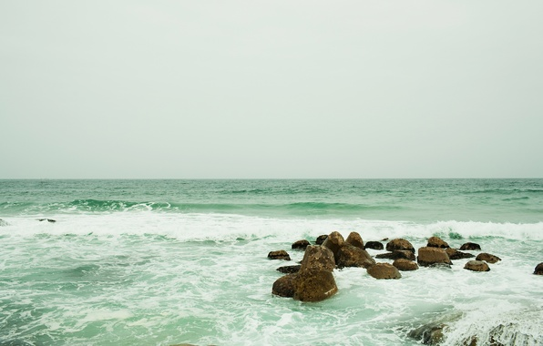Picture sea, wave, the sky, foam, water, squirt, stones, the ocean, sea