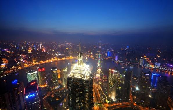 Picture the sky, light, night, horizon, China, Shanghai, Oriental Pearl Tower, Jin Mao Tower, the Huangpu …