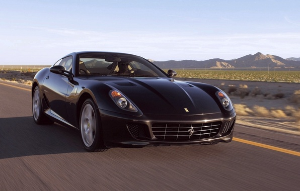 Picture road, machine, black, ferrari