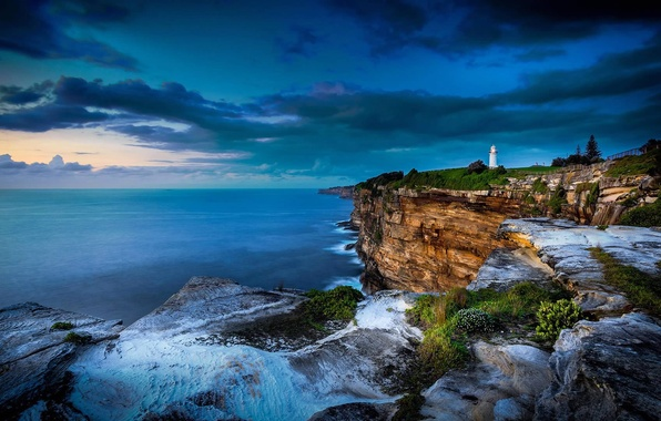 Picture clouds, open, the ocean, rocks, lighthouse, Australia, Sydney