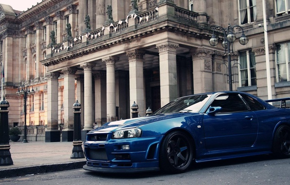 Picture blue, castle, tuning, nissan, skyline, Palace, gtr, building, r34, nissan skyline gtr r34, classic building