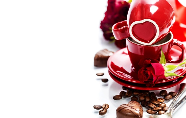 Picture photo, Heart, Grain, Coffee, Candy, Sweets, Roses, Cup, Food