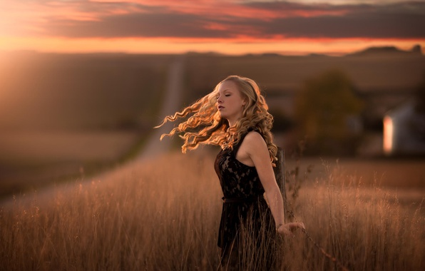 Picture road, field, girl, space, bokeh