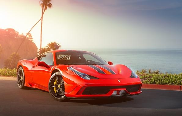 Picture the sky, red, reflection, red, ferrari, Ferrari, 458 speciale