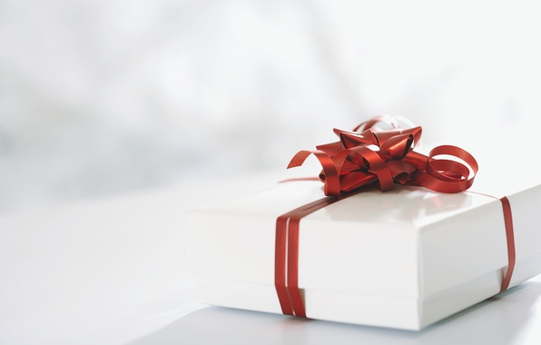 Picture red, holiday, gift, white, bow, ribbon, box