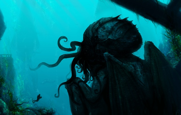 Picture rocks, diver, monster, art, tentacles, ruins, under water