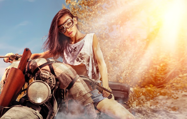 Picture gun, motorcycle, brunette, pose, dirt glasses