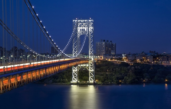Picture bridge, New York, night city, New York City, Hudson River, the George Washington bridge, George …