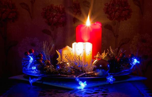 Picture candles, decorations, long exposure, advent