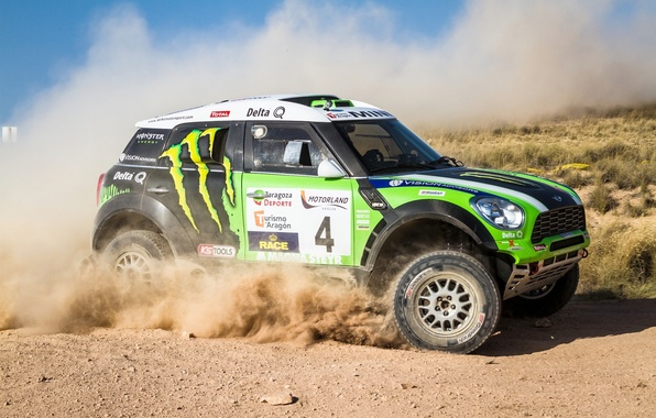 Picture Auto, Dust, Sport, Green, Machine, Race, Day, Mini Cooper, Rally, Dakar, SUV, MINI, Side view, …