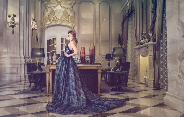 Picture girl, style, dress, hall, Asian