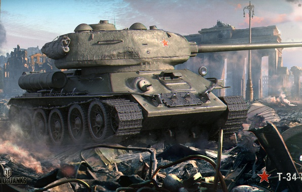 Picture the city, war, smoke, the ruins, tank, arch, ruins, Soviet, average, World of Tanks, T-34-85