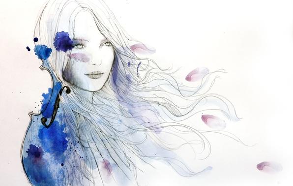 Picture girl, violin, hair, figure, paint, art, blots