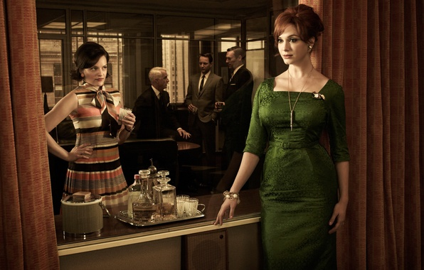 Picture woman, dress, red, mad men, Christina Hendricks, Don Draper, Jon Hamm, Go Harris, Peggy Olson, …