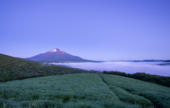 Picture the sky, fog, mountain, the evening, the volcano, Japan, blue, Honshu, Fuji