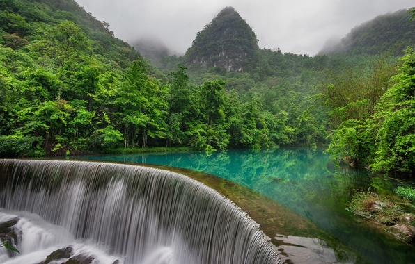 Picture forest, mountains, river, China, waterfall, China, Either, Libo County, Guizhou