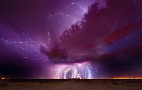 Picture the storm, the sky, night, clouds, zipper, lightning, the evening, AZ