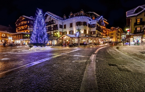 Picture road, night, the city, building, tree, home, pavers, Alps, area, Italy, cafe, tree, garland, Italy, …