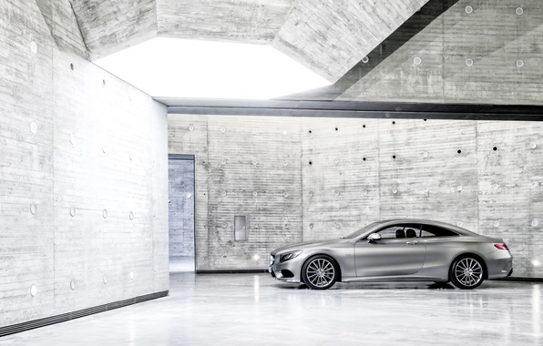Picture Mercedes-Benz, Auto, Machine, Mercedes, Silver, Coupe, The room, Side view, S-Class