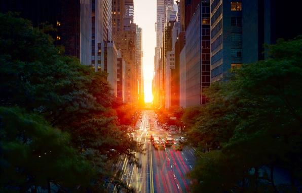 Picture road, the sun, light, sunset, machine, the city, spring, excerpt, Manhattan, New York