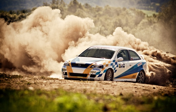 Picture dust, skid, rally, rally, opel, astra
