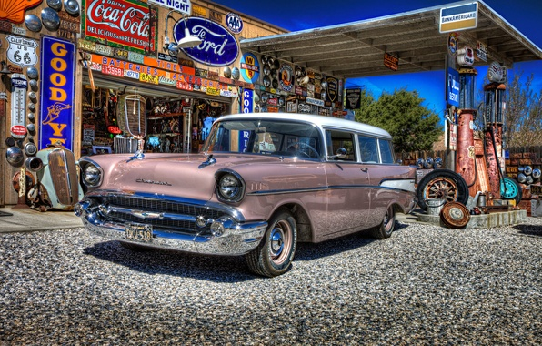 Picture retro, dressing, Chevrolet, car, classic, gas station, service