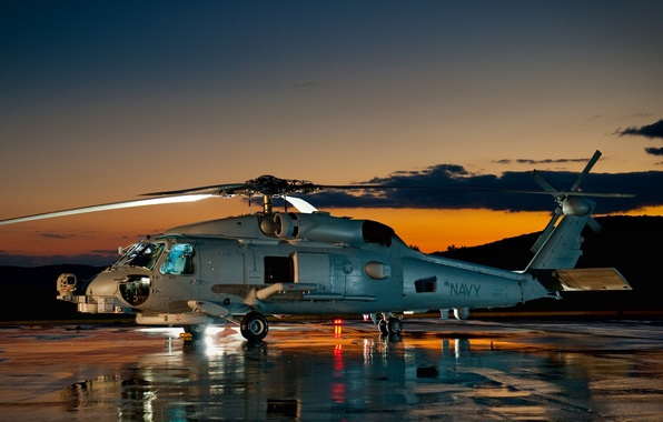 Picture Sunset, The sky, Clouds, Mountains, Helicopter, Base, Multipurpose, Sikorsky, Sikorsky, SH-60 Sea Hawk, The airfield