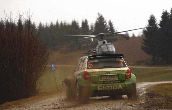 Picture Auto, Sport, Machine, Helicopter, Race, Dirt, Car, WRC, Rally, Rally, Dirty, Overcast, Skoda, Fabia, Fabia